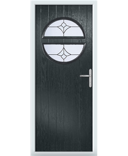 The Queensbury Composite Door in Grey (Anthracite) with Crystal Tulip Arch