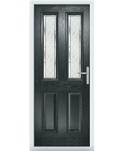 The Cardiff Composite Door in Grey (Anthracite) with Diamond Cut