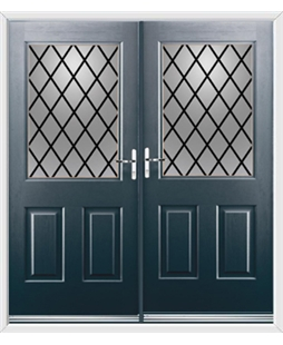Windsor French Rockdoor in Anthracite Grey with Diamond Lead