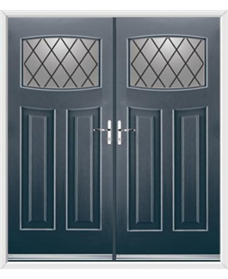Newark French Rockdoor in Anthracite Grey with Diamond Lead
