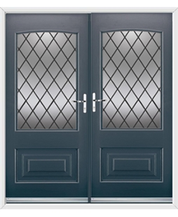 Portland French Rockdoor in Anthracite Grey with Diamond Lead
