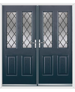 Jacobean French Rockdoor in Anthracite Grey with Diamond Lead