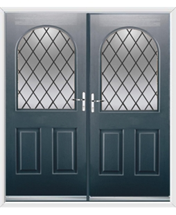 Kentucky French Rockdoor in Anthracite Grey with Diamond Lead