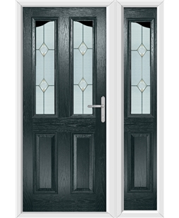 The Birmingham Composite Door in Grey (Anthracite) with Classic Glazing and matching Side Panel