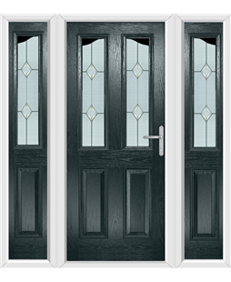 The Birmingham Composite Door in Grey (Anthracite) with Classic Glazing and matching Side Panels