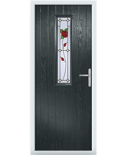 The Sheffield Composite Door in Grey (Anthracite) with English Rose