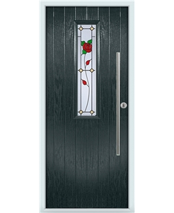 The York Composite Door in Grey (Anthracite) with English Rose