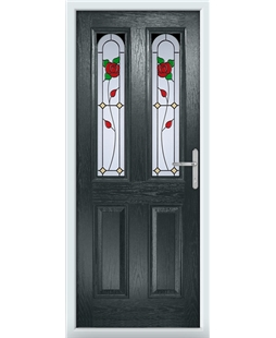 The Aberdeen Composite Door in Grey (Anthracite) with English Rose