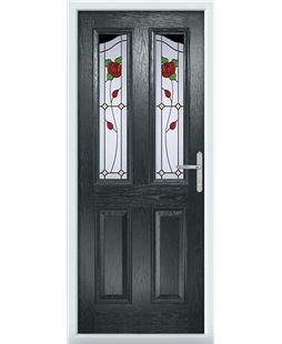 The Birmingham Composite Door in Grey (Anthracite) with English Rose