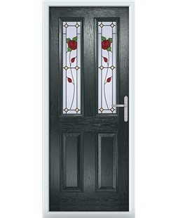The Cardiff Composite Door in Grey (Anthracite) with English Rose