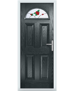 The Derby Composite Door in Grey (Anthracite) with English Rose