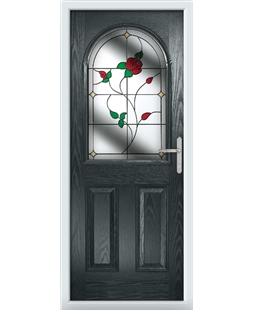 The Edinburgh Composite Door in Grey (Anthracite) with English Rose