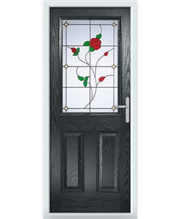 The Farnborough Composite Door in Grey (Anthracite) with English Rose