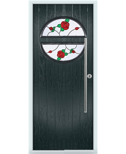 The Xenia Composite Door in Grey (Anthracite) with English Rose
