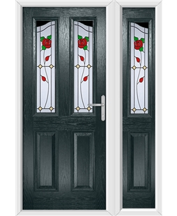 The Birmingham Composite Door in Grey (Anthracite) with English Rose and matching Side Panel