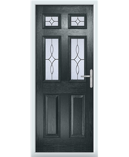 The Oxford Composite Door in Grey (Anthracite) with Flair Glazing