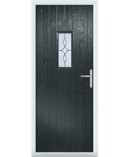 The Taunton Composite Door in Grey (Anthracite) with Flair Glazing