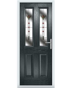 The Cardiff Composite Door in Grey (Anthracite) with Fleur