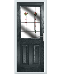 The Farnborough Composite Door in Grey (Anthracite) with Fleur