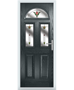The Glasgow Composite Door in Grey (Anthracite) with Fleur