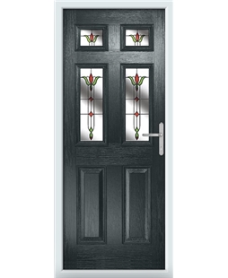 The Oxford Composite Door in Grey (Anthracite) with Fleur