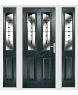 The Birmingham Composite Door in Grey (Anthracite) with Fleur and matching Side Panels