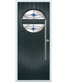 The Xenia Composite Door in Grey (Anthracite) with Blue Fusion Ellipse