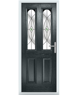 The Aberdeen Composite Door in Grey (Anthracite) with Green Fusion Ellipse