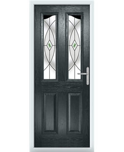 The Birmingham Composite Door in Grey (Anthracite) with Green Fusion Ellipse
