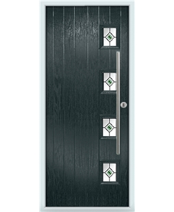 The Norwich Composite Door in Grey (Anthracite) with Green Fusion Ellipse