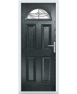 The Derby Composite Door in Grey (Anthracite) with Green Fusion Ellipse
