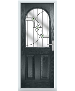 The Edinburgh Composite Door in Grey (Anthracite) with Green Fusion Ellipse
