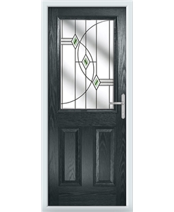 The Farnborough Composite Door in Grey (Anthracite) with Green Fusion Ellipse