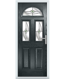 The Glasgow Composite Door in Grey (Anthracite) with Green Fusion Ellipse