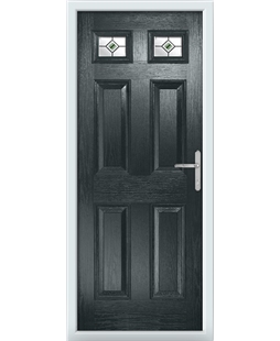The Ipswich Composite Door in Grey (Anthracite) with Green Fusion Ellipse