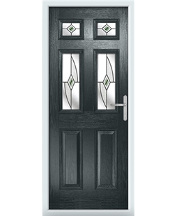 The Oxford Composite Door in Grey (Anthracite) with Green Fusion Ellipse