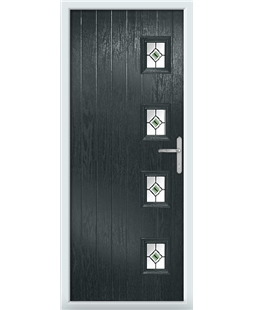 The Preston Composite Door in Grey (Anthracite) with Green Fusion Ellipse