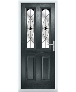 The Aberdeen Composite Door in Grey (Anthracite) with Black Fusion Ellipse