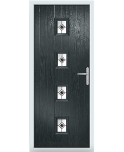 The Uttoxeter Composite Door in Grey (Anthracite) with Black Fusion Ellipse