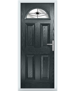 The Derby Composite Door in Grey (Anthracite) with Black Fusion Ellipse