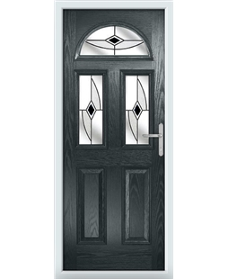 The Glasgow Composite Door in Grey (Anthracite) with Black Fusion Ellipse