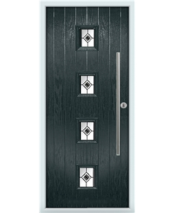 The Leicester Composite Door in Grey (Anthracite) with Black Fusion Ellipse