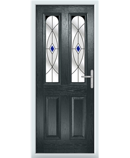 The Aberdeen Composite Door in Grey (Anthracite) with Blue Fusion Ellipse