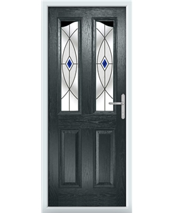 The Birmingham Composite Door in Grey (Anthracite) with Blue Fusion Ellipse