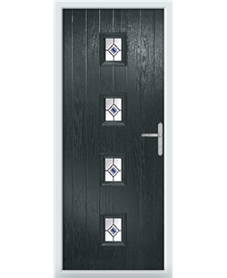 The Uttoxeter Composite Door in Grey (Anthracite) with Blue Fusion Ellipse