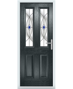The Cardiff Composite Door in Grey (Anthracite) with Blue Fusion Ellipse