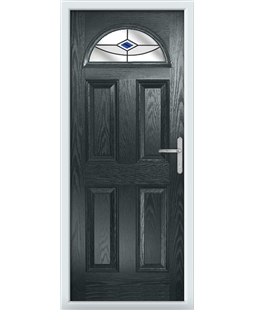 The Derby Composite Door in Grey (Anthracite) with Blue Fusion Ellipse