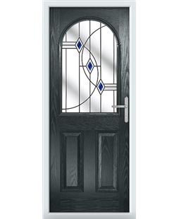 The Edinburgh Composite Door in Grey (Anthracite) with Blue Fusion Ellipse