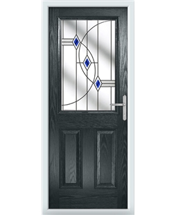 The Farnborough Composite Door in Grey (Anthracite) with Blue Fusion Ellipse