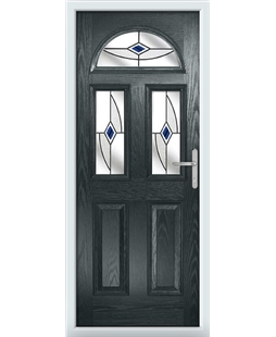 The Glasgow Composite Door in Grey (Anthracite) with Blue Fusion Ellipse